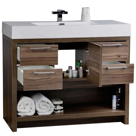 40 Inch Bathroom Vanity 40 Quot Modern Bathroom Vanity Set With Walnut Finish Tn L1000 Wn Conceptbaths