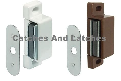Magnet Kitchen Cupboard Doors - 2 x magnetic catches 2kg pull white or brown kitchen
