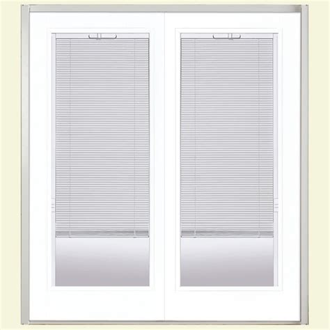 Mini Blinds For Patio Doors Masonite 72 In X 80 In Ultra White Prehung Right Inswing Mini Blind Steel Patio Door With