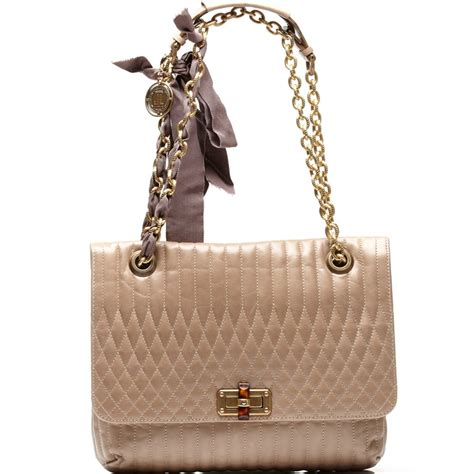 lanvin happy beige quilted leather shoulder bag