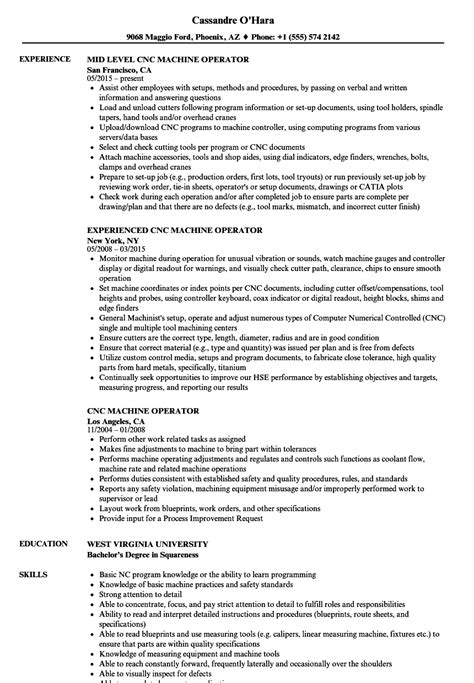 Machine Operator Resume by Cnc Machine Operator Resume Sles Velvet