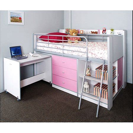 charleston storage loft bed with desk white and pink