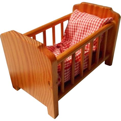 Wooden Dolls Crib adorable wooden doll house crib germany from
