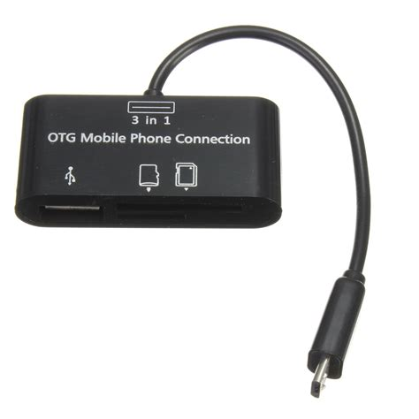 Usb Otg Lg 3 In 1 Micro Usb Otg Cable Adapter Sd Card Reader For