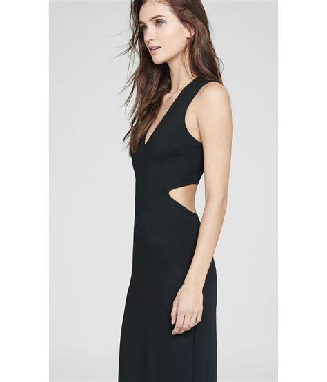Yuan V Neck Maxi lyst express black v neck cut out sleeveless maxi