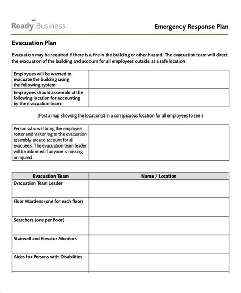 emergency response plan template for small business 27 emergency plan exles