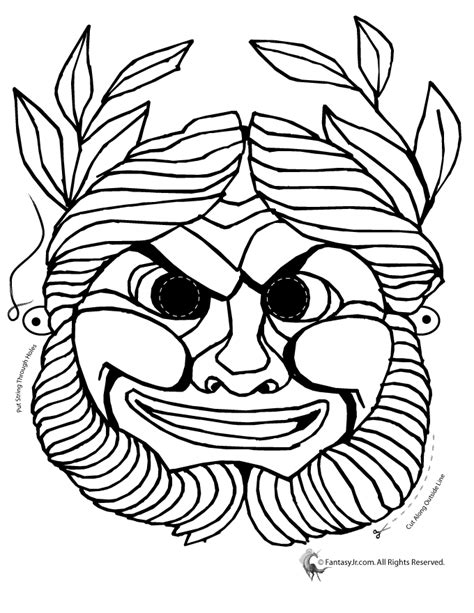traditional mask coloring page woo jr