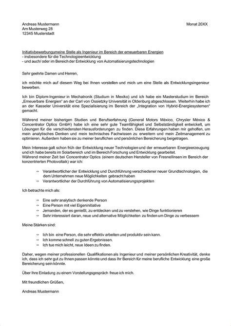 Bewerbung Ingenieur Betreff 10 Initiativbewerbung Muster Deckblatt Bewerbung