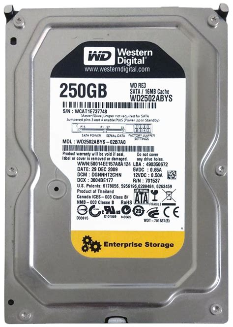 Hdd Wd 250gb wd2502abys western digital re3 250gb sata 3 0 gbps drive