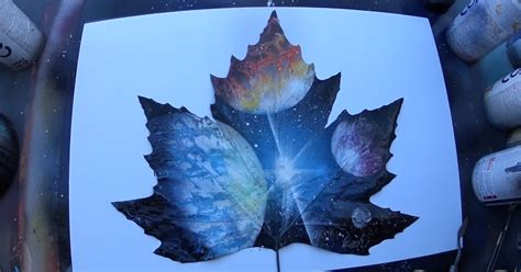 spray paint planets spray painting planets on a leaf bored panda