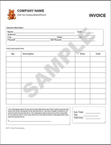 printable child care invoice daycare invoice template hardhost info