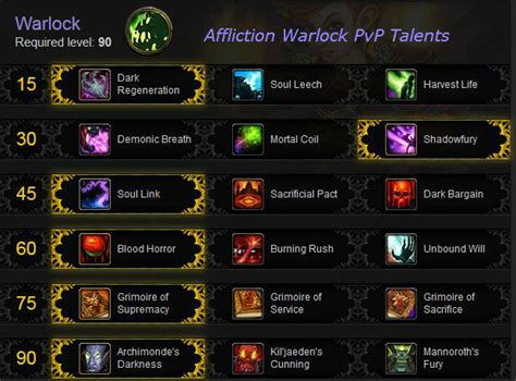 affliction warlock pvp in warlords gotwarcraft