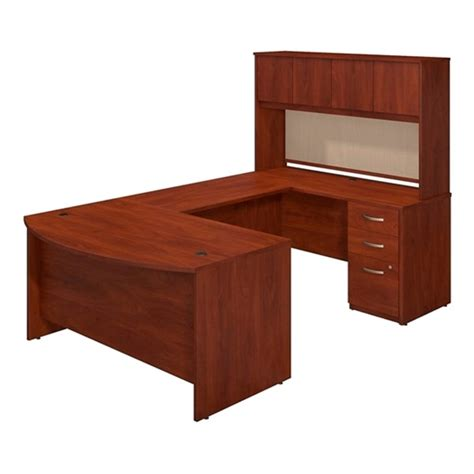 U Desk With Hutch Bush Sre133 Bow Front U Shaped Desk With Hutch