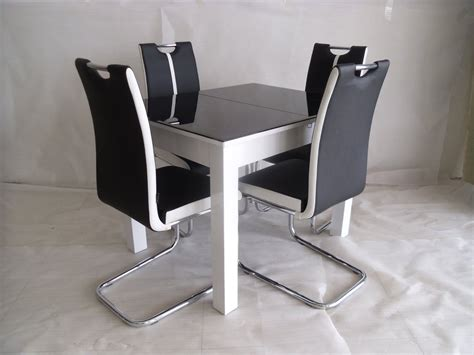 Black Extending Dining Table And Chairs Black White Primo Extending Dining Table And 4 Chairs Sets Modernique