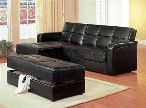 black vinyl modern small sectional sofa wstorage  ottoman