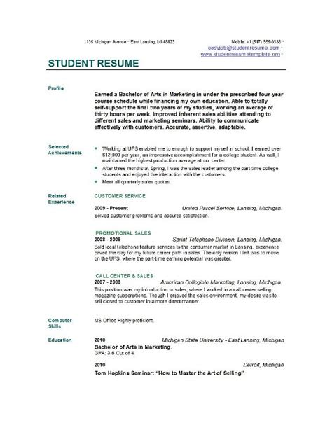 Resume Profile Exles For College Students Student Resume Templates Student Resume Template Easyjob