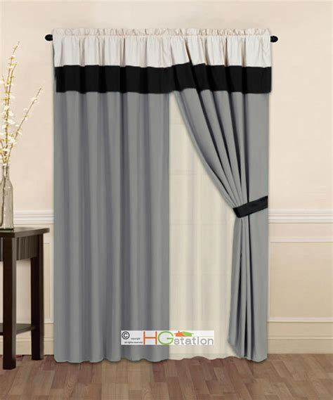 Grey Valance Curtains 4 P Striped Solid Modern Curtain Set Silver Gray Black