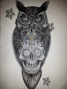 sugar skull owl tattoo design tattoos pinterest