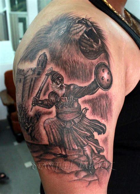 lion tattoos for punjabi baba deep singh ji with lion tattoo manjeet tattooz