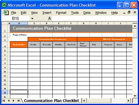 communication plan template ms wordexcel templates