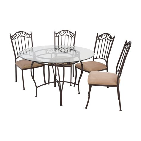 72 Off Wrought Iron Round Glass Table And Chairs Tables Wrought Iron Dining Table And Chairs