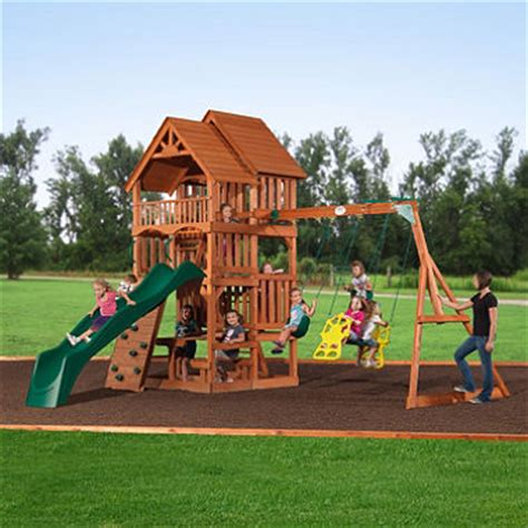 sams swing sets highlander deluxe cedar swing play set with slide sam s club