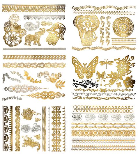 henna tattoo gold amazon metallic henna mandala temporary tattoos