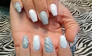 nail l acrylic infill l grey white winter snowflake l