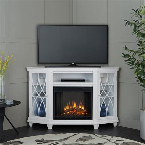 real lynette 56 in corner electric fireplace in