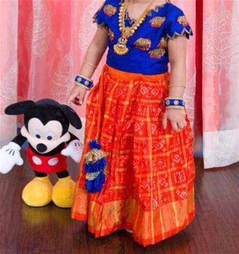 Indian Home Decoration Tips Orange Blue Pattu Langa Harithawomensworld