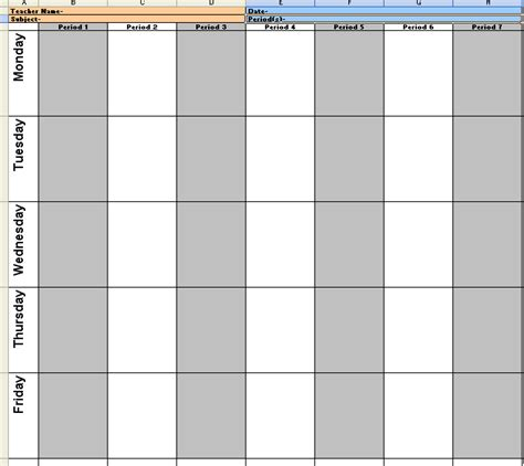 6 week lesson plan template weekly lesson plan format