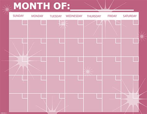 printable monthly calendar pink monthly calendar pretty in pink get organized business