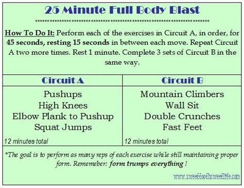 25 minute blast no weights