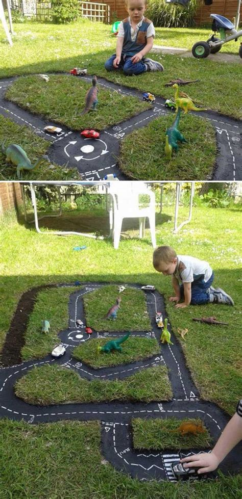 backyard diy race car tracks  kids  love instantly