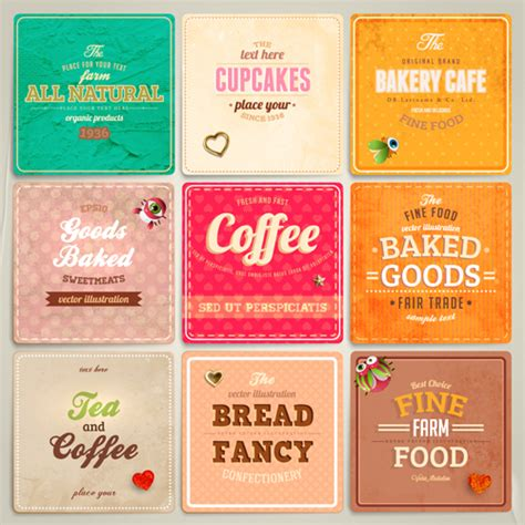 Cute Food Labels Design Vector 03 Over Millions Vectors Stock Photos Hd Pictures Psd Icons Food Label Design Template Free