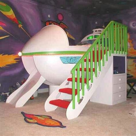 rocket ship bed with slide dream disney home pinterest