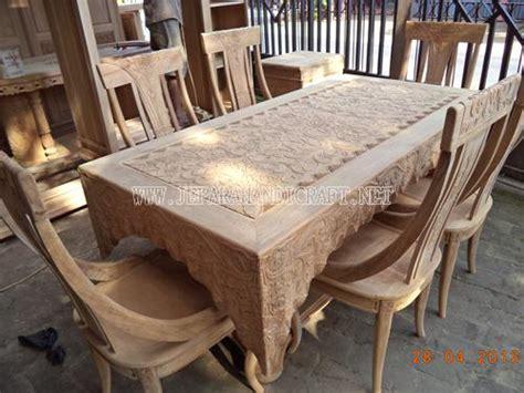 Meja Jepara termurah meja kursi makan jati selendang ukiran jepara