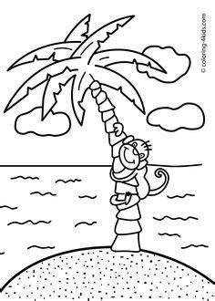 printable palm tree  printable coloring page