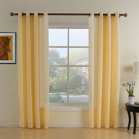 living room panel curtains simple living room decoration with one panel yellow sheer curtain and spool teak wooden curtain