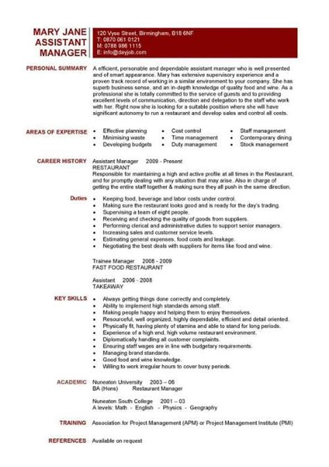 food and beverage resume template restaurant supervisor description resume resume ideas