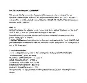 Sponsorship Letter Of Agreement Sle Sponsorship Agreement 12 Documents In Pdf Word