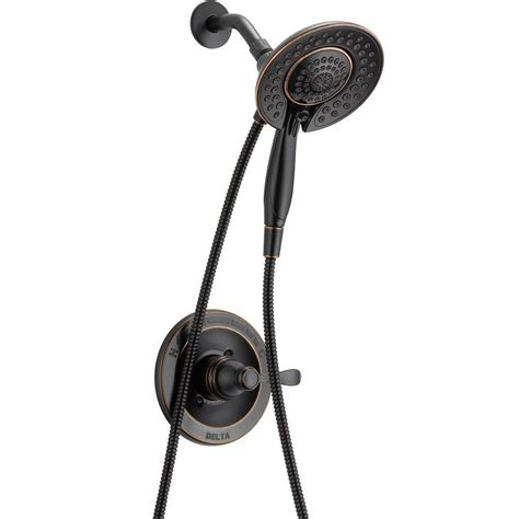 oil rubbed bronze bathroom delta porter in2ition 5 spray hand shower and shower head
