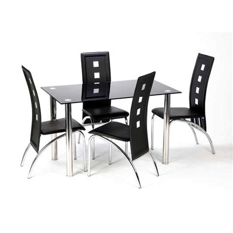 glass dining table and 4 chairs furniture in fashion