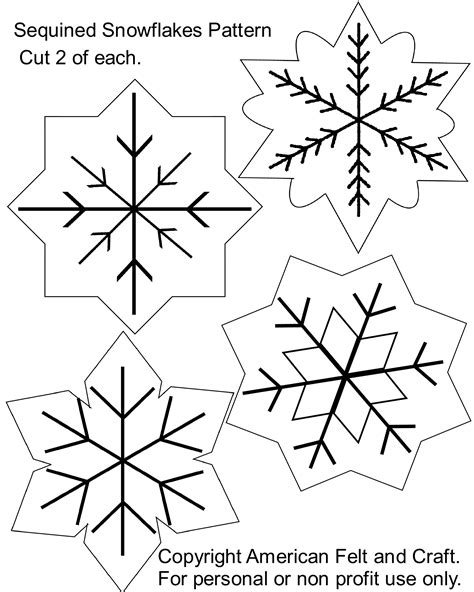Sequin Snowflakes Felt Christmas Ornament Pattern American Felt Craft Blog Ornament Stencil Template