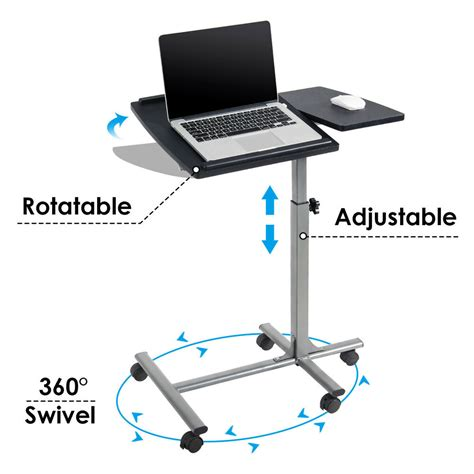 adjustable angle height rolling laptop notebook desk stand  sofa bed table ebay