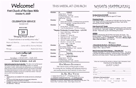 church bulletin template microsoft word church brochure template word free template update234