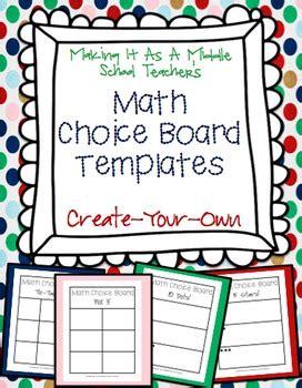 Math Choice Board Templates Create Your Own By Making It Teacher Math Templates For Teachers