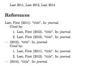 Citing References In A Research Paper by Bibtex How To List Citing Papers Each Of My Paper Tex Stack Exchange