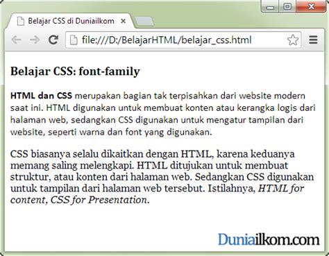 belajar membuat website dengan html dan css tutorial belajar css cara merubah jenis font font family