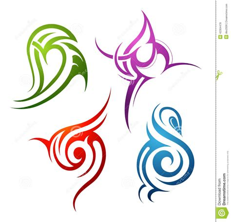 water tribal tattoo designs tribal design elements stock vector image 42304478